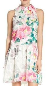 Eliza J Mock Neck Floral Print Sheath Dress